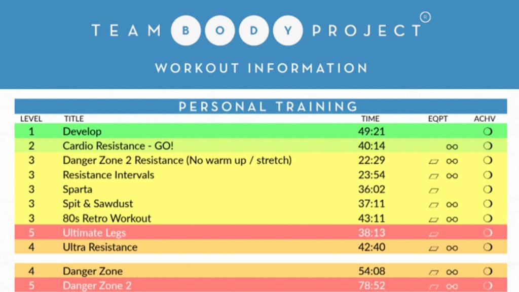 Workout spreadsheet Image